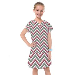 Chevron Blue Pink Kids  Drop Waist Dress