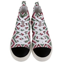Chevron Blue Pink Men s Mid Top Canvas Sneakers