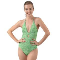 Knittedwoolcolour2 Halter Cut Out One Piece Swimsuit