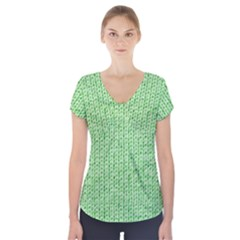 Knittedwoolcolour2 Short Sleeve Front Detail Top