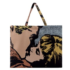 Kiss Kiss Zipper Large Tote Bag