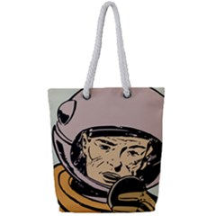 Astronaut Retro Full Print Rope Handle Tote (small)