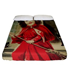 Haloweencard3 Fitted Sheet (queen Size)