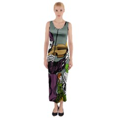 Playing Skeleton Fitted Maxi Dress