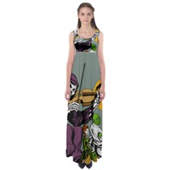 Playing Skeleton Empire Waist Maxi Dress