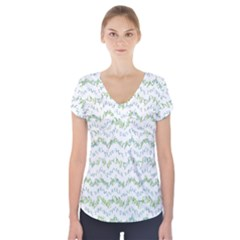 Wavy Linear Seamless Pattern Design  Short Sleeve Front Detail Top