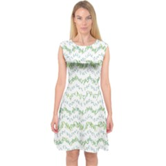 Wavy Linear Seamless Pattern Design  Capsleeve Midi Dress