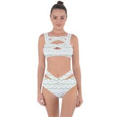 Wavy Linear Seamless Pattern Design  Bandaged Up Bikini Set
