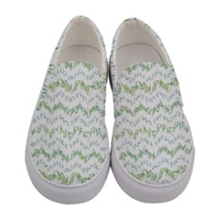 Wavy Linear Seamless Pattern Design  Women s Canvas Slip Ons