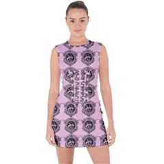 Three Women Pink Lace Up Front Bodycon Dress