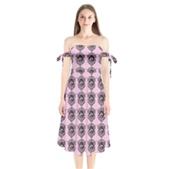 Three Women Pink Shoulder Tie Bardot Midi Dress
