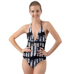 Numbers Cards 7898 Halter Cut Out One Piece Swimsuit