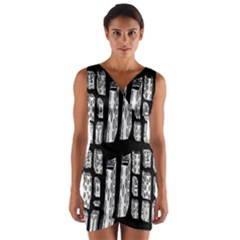 Numbers Cards 7898 Wrap Front Bodycon Dress