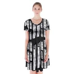 Numbers Cards 7898 Short Sleeve V Neck Flare Dress