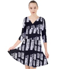 Numbers Cards 7898 Quarter Sleeve Front Wrap Dress