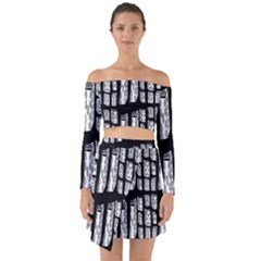 Numbers Cards 7898 Off Shoulder Top With Skirt Set