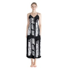 Numbers Cards 7898 Button Up Chiffon Maxi Dress