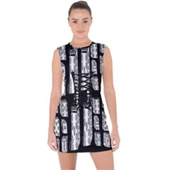 Numbers Cards 7898 Lace Up Front Bodycon Dress