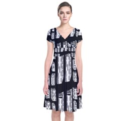 Numbers Cards 7898 Short Sleeve Front Wrap Dress