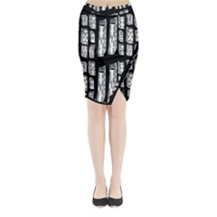 Numbers Cards 7898 Midi Wrap Pencil Skirt