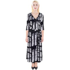 Numbers Cards 7898 Quarter Sleeve Wrap Maxi Dress