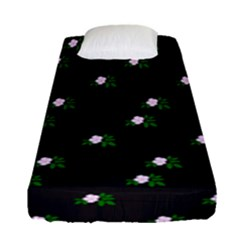 Pink Flowers On Black Big Fitted Sheet (single Size)