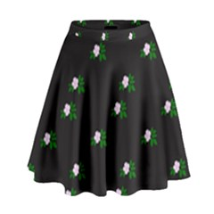 Pink Flowers On Black Big High Waist Skirt