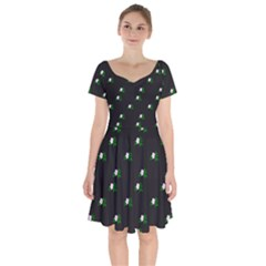 Pink Flowers On Black Big Short Sleeve Bardot Dress