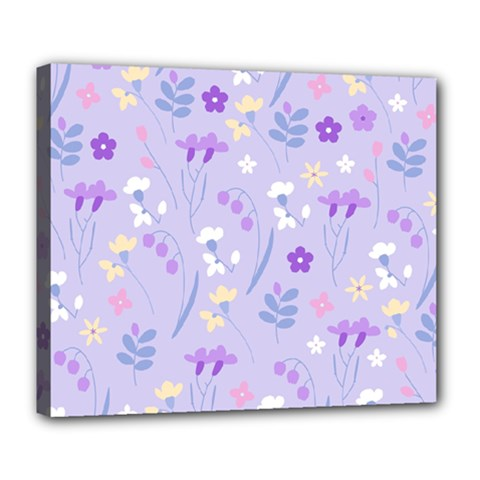 Violet,lavender,cute,floral,pink,purple,pattern,girly,modern,trendy Deluxe Canvas 24  X 20