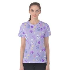 Violet,lavender,cute,floral,pink,purple,pattern,girly,modern,trendy Women s Cotton Tee