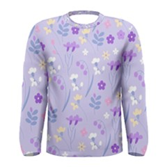 Violet,lavender,cute,floral,pink,purple,pattern,girly,modern,trendy Men s Long Sleeve Tee