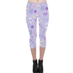 Violet,lavender,cute,floral,pink,purple,pattern,girly,modern,trendy Capri Leggings