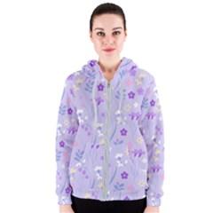 Violet,lavender,cute,floral,pink,purple,pattern,girly,modern,trendy Women s Zipper Hoodie