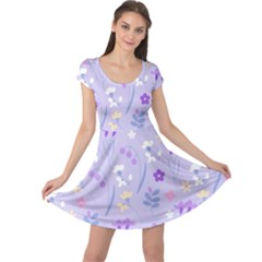 Violet,lavender,cute,floral,pink,purple,pattern,girly,modern,trendy Cap Sleeve Dress