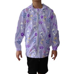 Violet,lavender,cute,floral,pink,purple,pattern,girly,modern,trendy Hooded Wind Breaker (kids)