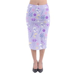 Violet,lavender,cute,floral,pink,purple,pattern,girly,modern,trendy Midi Pencil Skirt
