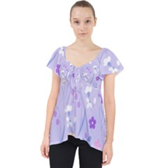 Violet,lavender,cute,floral,pink,purple,pattern,girly,modern,trendy Lace Front Dolly Top