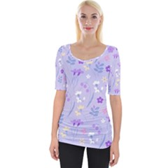 Violet,lavender,cute,floral,pink,purple,pattern,girly,modern,trendy Wide Neckline Tee