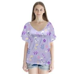 Violet,lavender,cute,floral,pink,purple,pattern,girly,modern,trendy V Neck Flutter Sleeve Top