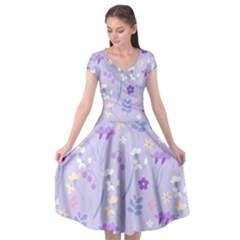 Violet,lavender,cute,floral,pink,purple,pattern,girly,modern,trendy Cap Sleeve Wrap Front Dress