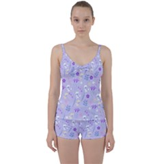 Violet,lavender,cute,floral,pink,purple,pattern,girly,modern,trendy Tie Front Two Piece Tankini