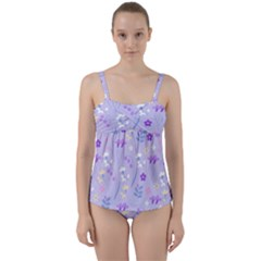 Violet,lavender,cute,floral,pink,purple,pattern,girly,modern,trendy Twist Front Tankini Set