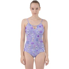 Violet,lavender,cute,floral,pink,purple,pattern,girly,modern,trendy Cut Out Top Tankini Set