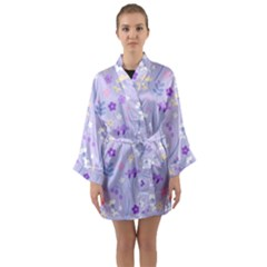 Violet,lavender,cute,floral,pink,purple,pattern,girly,modern,trendy Long Sleeve Kimono Robe