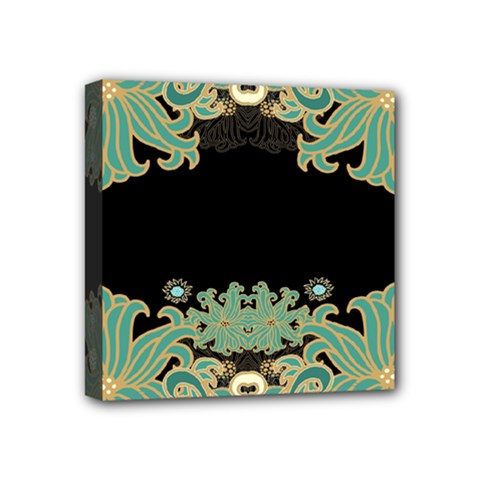 Black,green,gold,art Nouveau,floral,pattern Mini Canvas 4  X 4