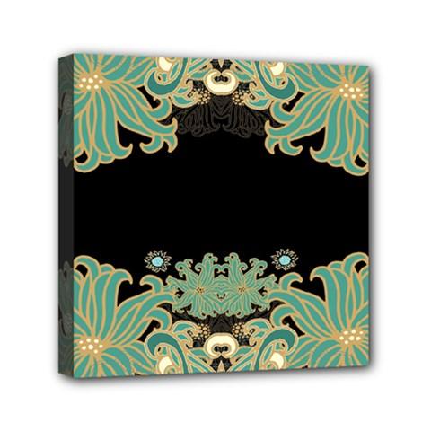 Black,green,gold,art Nouveau,floral,pattern Canvas Travel Bag