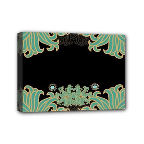 Black,green,gold,art Nouveau,floral,pattern Mini Canvas 7  X 5
