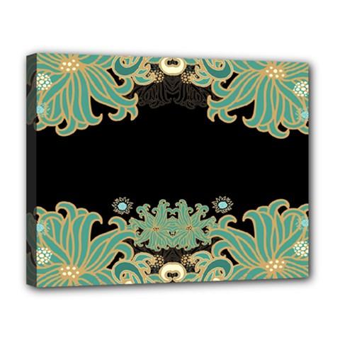 Black,green,gold,art Nouveau,floral,pattern Canvas 14  X 11
