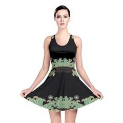 Black,green,gold,art Nouveau,floral,pattern Reversible Skater Dress
