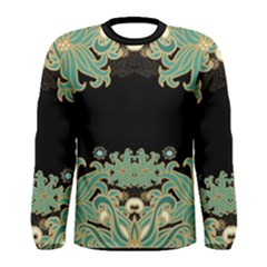 Black,green,gold,art Nouveau,floral,pattern Men s Long Sleeve Tee